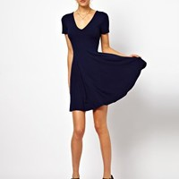 ASOS Skater Dress With V Neck And Short Sleeves. at asos.com