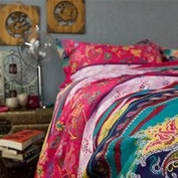 FADFAY Boho Bedding Set Colorful Stripes Bed Set Rustic Vintage Floral Duvet Covers Full