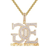 Baguette God Over Everything Holy Religious Gold Tone Pendant