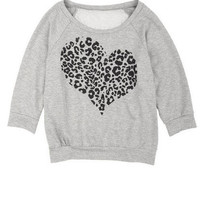 Cheetah Heart Lace Back Sweatshirt