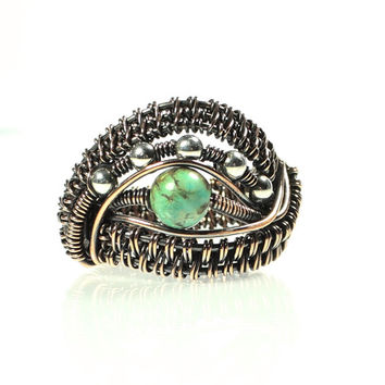 Copper Wire Ring, Turquoise and Copper Ring, Woven Wire Jewelry, Wide Band, One of a Kind Jewelry, Unisex, Wire Eye Ring, Size 6 Ring