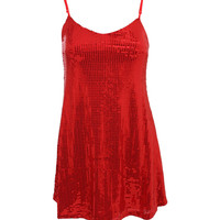 Saskia Thin Strap Sequin Swing Party Dress in Red
