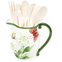 Butterflies & Flowers Pitcher With Utensil Set