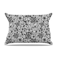 """Julia Grifol """"Candy Flowers In Black"""" Gray White Pillow Case"""