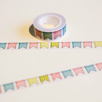 1 x  Colour Flag washi tape DIY decoration scrapbooking planner masking tape adhesive tape kawaii stationery