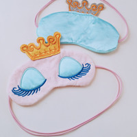 Sleeping Beauty Princess Baby Blue Eye Mask, Cute Pastel Big Golly Eyes Sleeping Mask, Crown Princess Long Lashes Travel Mask, Fabric Masks