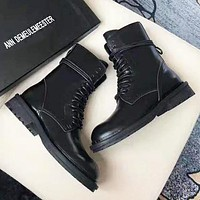 Bunchsun Ann DEMEULEMEESTER Autumn And Winter Fashion New Women Men Shoes Boots Black