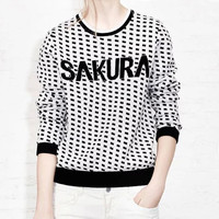 Sakura Pattern Printed Long Sleeve Knitting Sweater