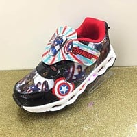 boys cartoon Captain America sneakers with lights autumn winter new LED fashion children kids Casual Shoes eu size 28-33