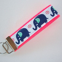 Key FOB / KeyChain / Wristlet  - Blue elephants on Neon coral - or your choice of background