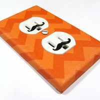 MADE WHEN ORDERED Dark and Light Tangerine Orange Chevron Riley Small Outlet Cover Electrical Duplex  - mustache decals not included