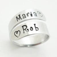 Customized couple ring - His ring her ring - Boyfriend girlfriend ring - Personalized ring - Silver tone stamped aluminum ring