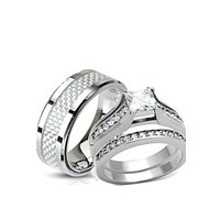 His and Hers Wedding Rings Stainless Steel Princess Cut CZ Wedding Ring Set