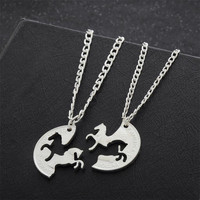 BFF Puzzle 2PC/Set Two Horses Pendant Necklace Best Friend Gifts Wedding Fashion Women Jewelry Necklaces Bride Charm Friendship