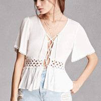 Lace-Up Crochet Panel Top
