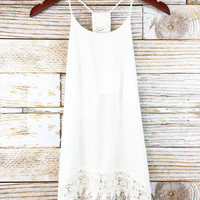 Ivory Lace Trim Tank Top
