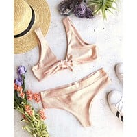 Emma Seamless Tie Front Bikini Top in Metallic Rose