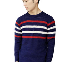 Striped Knit Crew Neck Pullover Sweater