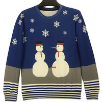Navy Color Block Snowman And Stripe Pattern Sweatshirt
