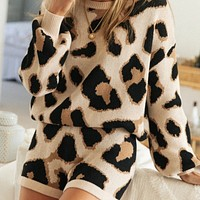 2020 autumn new women's leopard print long-sleeved sweater shorts two-piece suit