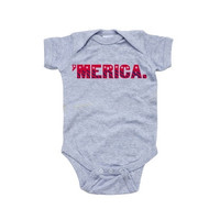 Patriotic Fourth of July Independence Day Baby Cute Short Sleeve Merica Bodysuit [9325383556]