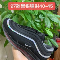 HCXX 19July 967 Nike Air Max 97 Flyknit Breathable Running Shoes Black Silver Laser