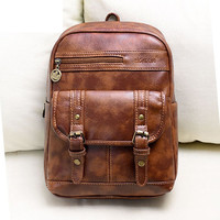 New Fashion Mochila Bag Practical pu Leather Vintage Women Backpack