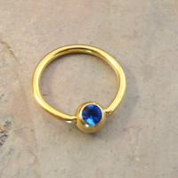 16 Gauge Gold CBR Cartilage Hoop Earring Tragus with Sapphire Blue Crystal