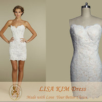 Real Sample Bodice Bounded Short Mini Lace Skirt Sweatheart Wedding Dress Well Shaped Dress --Good Feedback by customers