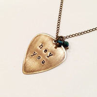 "Pink Floyd ""Hey You"" Metal Guitar Pick Necklace, Vintaj Hand Stamped"