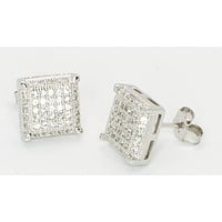 Sterling Silver Stud Earrings Clear Cubic Zirconia 3d Micropave 10mm