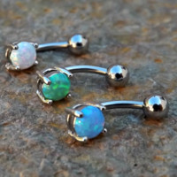 Fire Opal Belly Ring 14ga Surgical Steel Navel Rings Body Piercing Jewelry Blue Opal White Opal Green Opal