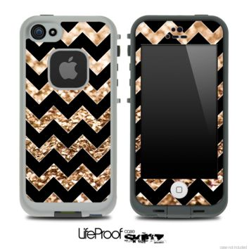 Black Chevron Gold Glimmer Skin for the iPhone 5 or 4/4s LifeProof Case
