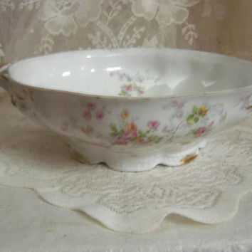 C Ahrenfeldt Limoges Round Serving Bowl, Dainty Pink & Yellow Roses Pattern, Gold Accents, Footed Bowl, No Lid, 1920s Antique Cottage Decor