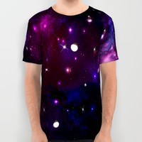 Midnight Blue Purple Galaxy All Over Print Shirt by Deluxephotos