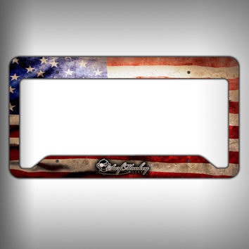 American Flag Custom Licence Plate Frame Holder Personalized Car Accessories