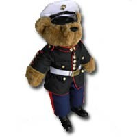 "Teddy Bear in US Marine Corps Blue Dress Uniform (22"" Tall)"