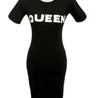 Black Bodycon 'Queen' Dress