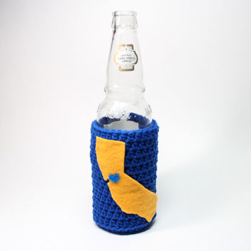California Beer Koozie, State Accessories, Crochet Bottle Drink Holder, Bay Area Coffee Cozy, Blue & Gold Golden State Warriors Inspired