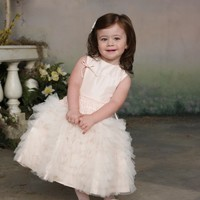 Taffeta And Tulle Full A-Line With Jewel Neckline Dropped Waistband Flower Girl Dress - Basadress.com