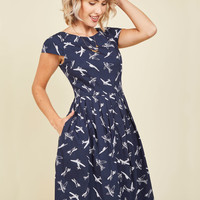 Emily and Fin Unmatched Panache Midi Dress in Airplanes