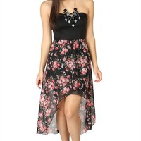 Strapless High Low Dress with Chiffon Floral Skirt