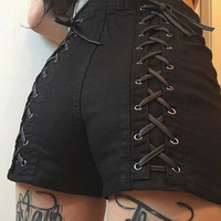 Lace up Black Bandage Shorts 2017 Summer New Solid Women Shorts Cross High Waist Casual Short Pants