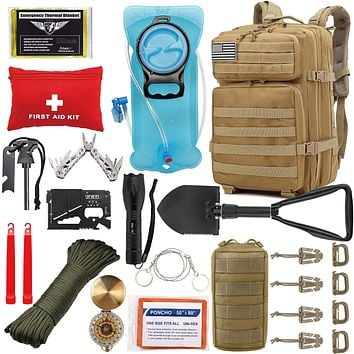 EVERLIT 42L Tactical Backpack Survival Kit Bugout Bag Assault Pack Rucksack with Hydration Bladder and Survival Gear 3 Day Rucksack Molle Outdoor Hiking Daypack Hunting Tan
