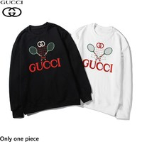 GUCCI stylish casual couple round-neck hoodies are hot sellers of embroidered pure cotton terry hoodies