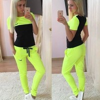 nike fashion casual multicolor print round neck short sleeve set two piece sportswear