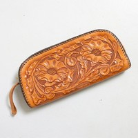 Vintage 1950s Clutch Purse - Brown Tooled Leather Wristlet 50s