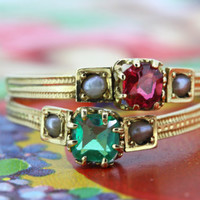 Antique Emerald Engagement Ring | French Victorian Ruby Ring | 18k Yellow Gold Ring | French 1800s Ring | Gemstone Stacking Ring | Size 5.5