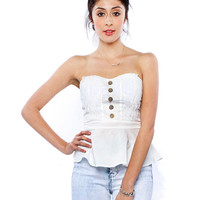 Papaya Clothing Online :: BUTTON UP BOW TUBE TOP