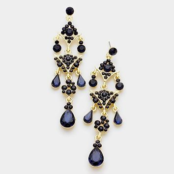 Crystal Rhinestone Triple Teardrop Chandelier Evening Earrings